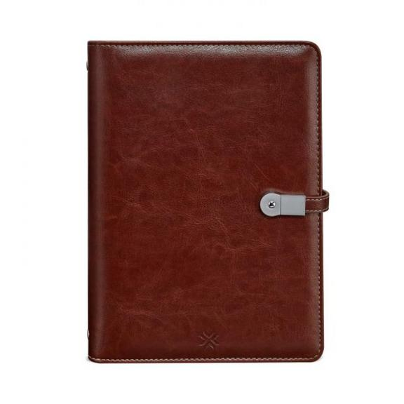 Leatherette Notebook Organiser With Powerbank - Brown