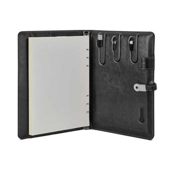 Leatherette Notebook Organiser With Powerbank - Black